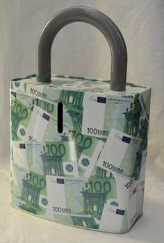 Caja de Lamina diseño Candado con Estampado de Euros de 27x17x7cm