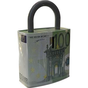 Caja de Lamina diseño Candado con Estampado de Euro de 27x17x7cm