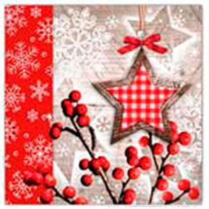 Paquete de 20 servilletas con estampado navideño de 33x33cm