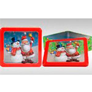 Caja de lámina cuadrada con estampado de muñeco con santa y tapa transparente de 23x21x8cm