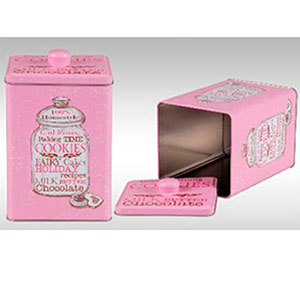 Galletero de lámina rosa con diseño de frasco de 13x7x19cm