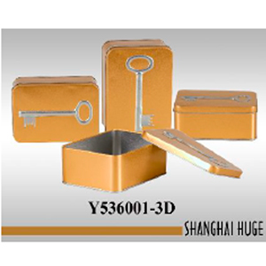 Caja rectangular de lámina dorada diseño Llave de 14x10x6cm