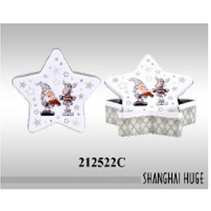 Caja de metal diseño estrella con estampado navideño de 22x22x6.5cm