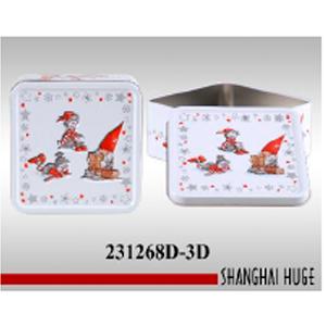 Caja de metal cuadrad blanca con estampado navideño de 15x15x605cm