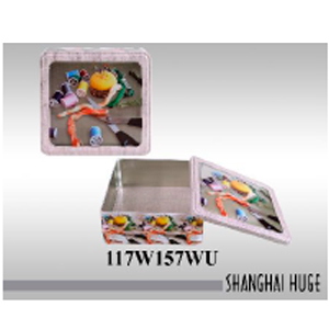 Caja de lámina cuadrada diseño costurero de 23x21x8cm