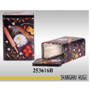Caja de lámina rectangular diseño pasta y tomate de 13x9x18cm