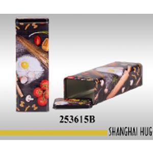 Caja rectangular de lámina diseño pasta y tomate de 9x7x27cm