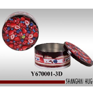 Caja redonda de lámina diseño fresas y moras de 19x11cm