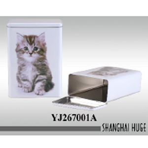 Caja blanca de lámina estampado gato de 17x9x24cm