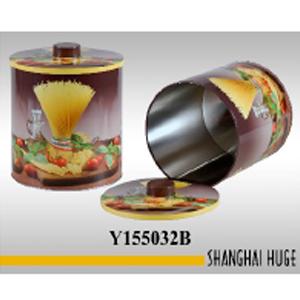 Caja redonda de lámina con estampado de pasta de 17x18cm