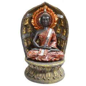 Buda meditando en flor de loto c/luz led café/oro de 20x19x29.5cm