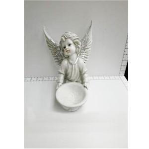 Angel c/candelabro de resina gris diamantado de 19x23.5x22.5cm