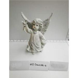 Angel de resina gris con alas diamantadas de 14.5x11.5x22.5cm