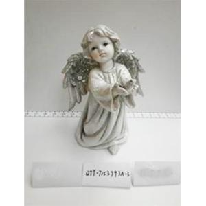 Angel de resina gris con alas diamantadas de 17.5x1x25.5cm