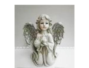 Angel de resina gris con alas diamantadas de 22x16x25cm