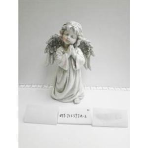 Angel de resina gris con alas diamantadas de 17x12x26cm