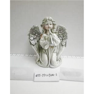 Angel de resina gris con alas diamantadas de 24x14x22.5cm