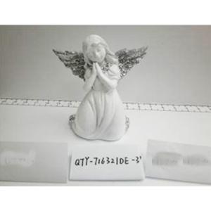 Angel de resina blanco con alas plata de 14.5x8.5x15cm