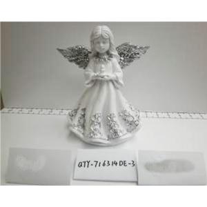 Angel de resina blanco con alas plata de 15x12.5x19cm