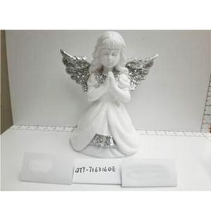Angel de resina blanco con alas plata de 21x13.5x24cm