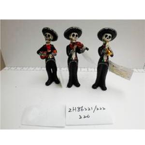Calavera vestida de mariachi con diferentes instrumentos de 7x5.5x16cm