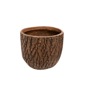 Maceta cilindrica de fibra de vidiro imitación corteza café de 29x29x27cm