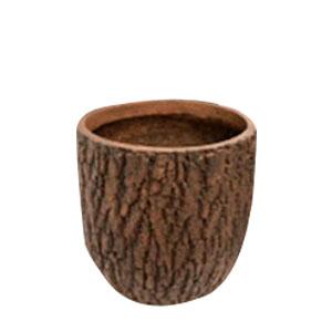 Maceta cilindrica de fibra de vidiro imitación corteza café de 36x36x34cm