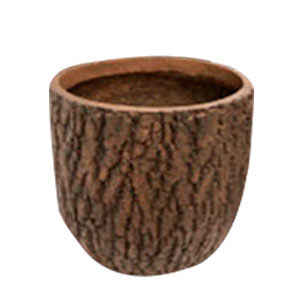 Maceta cilindrica de fibra de vidiro imitación corteza café de 44x44x42cm