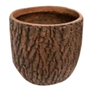 Maceta cilindrica de fibra de vidiro imitación corteza café de 52x52x50cm