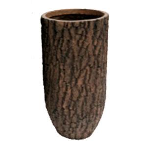 Maceta cilindrica de fibra de vidiro imitación corteza café de 29x29x56cm