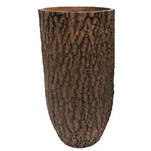 Maceta cilindrica de fibra de vidiro imitación corteza café de 38x38x71cm