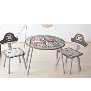 Juego de Mesa infantil con 2 sillas diseño Piratas de 60x48/33x34x65cm