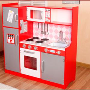 Cocinita de madera con refrigerador en rojo con gris de 100x34x101cm