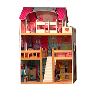 Casita para muñecas rosa con accesorios de 60x30x90cm