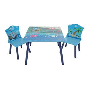 Mesita cuadrada infantil con 2 sillas diseño Marino de 60x60/32x29x51cm