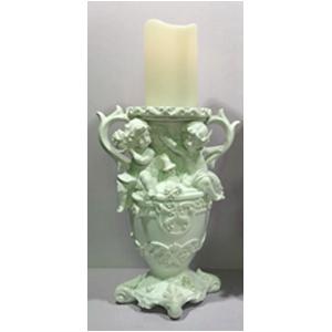 Candelabro de resina con angelitos en color blanco de 20x16x42cm