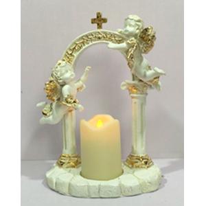 Candelabro de resina con ángeles en arco con vela  tea light de 17x9x23cm