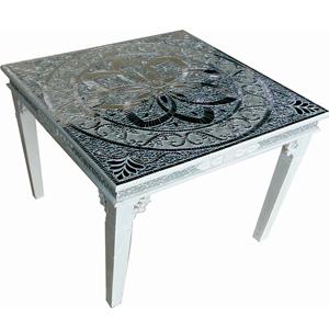 Mesa de madera forrada de vitroespejos de 84x84x80cm