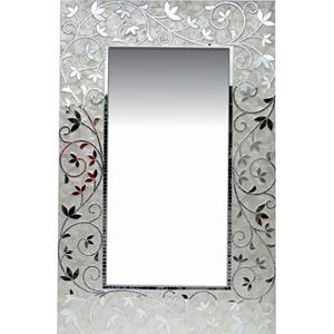 Espejo de madera diseño de guías de flores con vitroespejos de 80x4x122cm