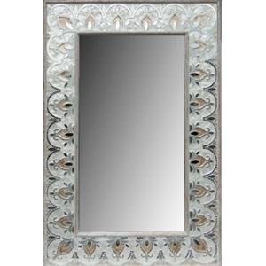Espejo de madera diseño de guías de flores con vitroespejos beige con dorado de 80x5x122cm