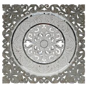 Cuadro de madera grabado diseño grecas con incrustaciones de espejos de 122x4.5x122cm