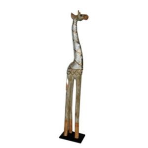 Jirafa de madera con cuello de vitroespejos de 21x11x100cm