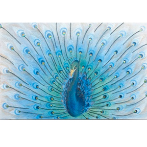 Cuadro diseño Pavorreal azul con relieve de 122x4x80cm