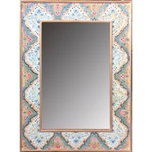 Marco rectangular con espejo diseño flores e incrustaciones de espejos de colores de 75.5x4.5x102cm
