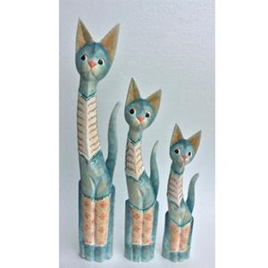 Gato azul con incrustación de brillantes de 17x8x100cm