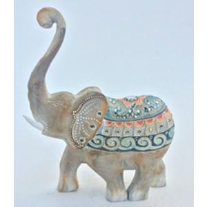 Figura de elefante con montura de colores e incrustaciones de brillantes de 30x8x37cm