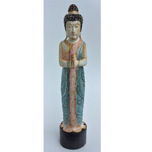 Figura de Buda con vestimenta azul con incrustaciones de brillantes de 19x17x90cm