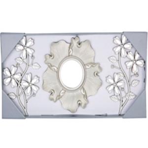Juego de 3 espejos de plastico con flores y guías beigue de 25cm