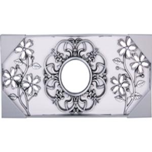 Juego de 3 espejos de plastico con flores y guías plata de 25cm