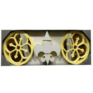 Juego de espejos con marco amarillo y decoración de Flor de Liz con luz led de 25cm